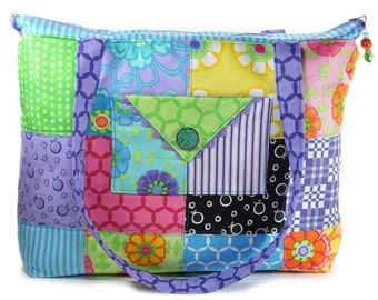 Quilted Tote Bag Large Purple Blue Green Pink Flowers