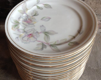 Meito Springtime Bread Butter Plates / Floral Cake Dessert Wedding China Lot Vintage Set 18 - #4571
