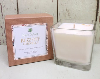 Buzz Off Citronella Soy Candle - 12 oz. Glass Cube - Green Daffodil - Hand poured -CG
