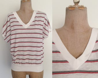 1980's Cotton Poly Striped Top Red White & Blue Vintage Shirt Size Small Medium by Maeberry Vintage