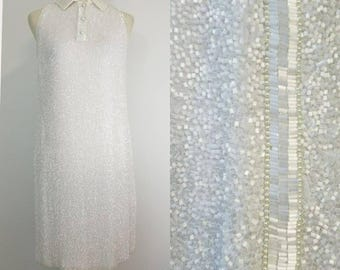 RARE Vintage Milk White Heavily Beaded Shift Dress / Bob Mackie