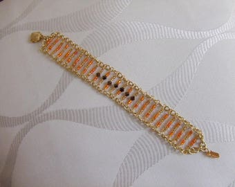 Gold effect bracelet mesh tops swarovski crystal and seed beads