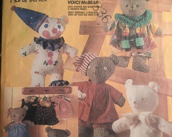 "Teddy BEAR -- Soft Stuffed 18"" Bear  McCall's Crafts # 2629 Vintage Pattern (cut) with Wardrobe / Clothing Patterns"