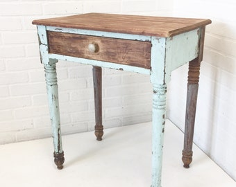 Quirky Antique Single Drawer Table, Farmhouse Home Decor, Vintage Wood  Furniture, Painted Distressed Cottage Style Stand