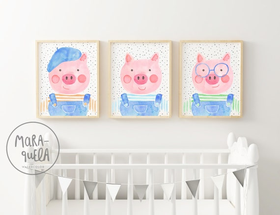 Set TRES CERDITOS, láminas acuarela /  Three little pigs prints in watercolor