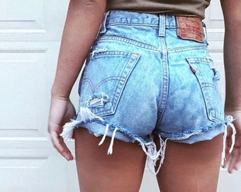 Levi's Vintage Distressed Shorts - Women's Levi's All Sizes - Cheeky - Destroyed - Ripped Denim - High Waisted Levi's Shorts