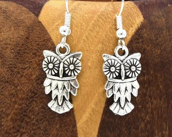 Studs owls, owls clip silver