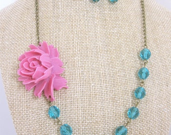 Flower Necklace Pink Necklace Teal Necklace Pink and Teal Jewelry Statement Necklace