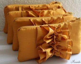 Marigold Ruffle Wristlet for Bridesmaid or Flower Girl