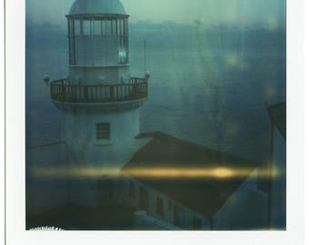 Lighthouse, Ireland, Sea, Nautical, SX70, Polaroid Photography, Vintage, Home, Office, Decor, Original, Landscape, Calming, Architecture