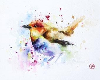 Bird original watercolor painting, Original art, Bobapainting
