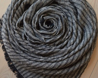 Black and White Melange Striped LINEN Scarf