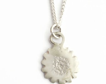 Sterling Silver Abstract Flower Pendant Necklace  - HALLMARKED