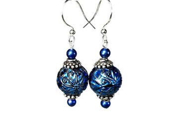 Blue Bead Dangle Earrings, Handmade  Gift For Her, Vintage Inspired Jewelry