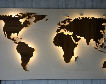 "Wooden World Map - illuminated with 3D effect - 49,2 x 24 inch ""Mauch"" - unique & handmade"