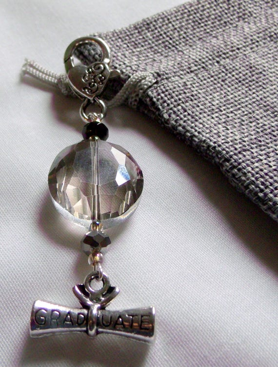 Personalized Graduation gift - grad zipper pull  -  scroll  charm - oval clear crystal  -  back pack clip on - diploma grad gift