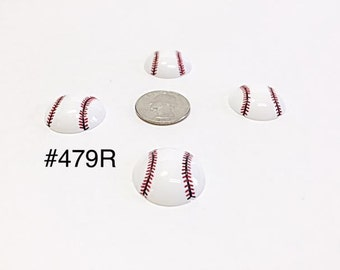 3 or 5 pc Sport Baseball Ball Resin Flat back Cabochon Hair Bow Center Craft Supply