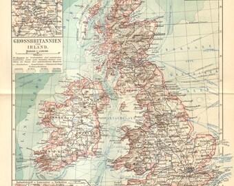 1909 Original Antique Map of Great Britain and Ireland