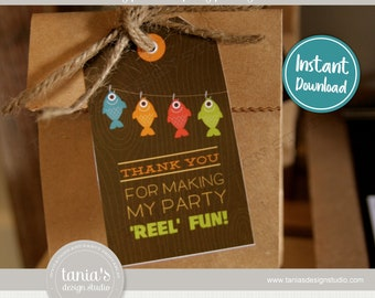 Gone Fishing - The Big One - Birthday Favor Tags - Instant Download - by Tania's Design Studio
