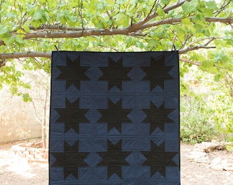 Navy and Black Wonky Star Quilt - Lap Quilt - Baby Quilt - Throw Quilt