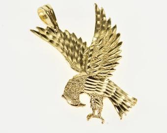 14k Stylized Diamond Cut Flying Eagle Bird Pendant Gold