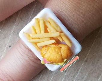 Croissant Sandwich Food Ring Kitsch Kitschy Jewelry