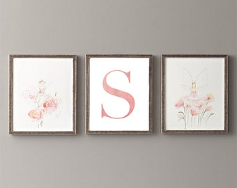 Letter S | Nursery Print | Nursery Art | Alphabet | Instant Download | Digital Print | Wall Art | Baby Girl | Initials | Pink | Watercolor