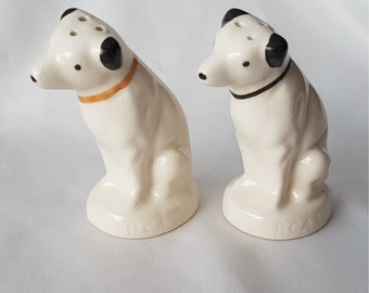 RCA Victor Nipper Dog Salt and Pepper Set; Black / Gold Collars