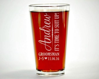 Suit Up Groomsman, Suit Up, Groomsman Pint Glass, Personalized Pint Glasses, Groomsmen Gift, Wedding Party Gifts, Will You be My Groomsman
