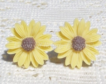Yellow Spring Daisy Clip On Earrings