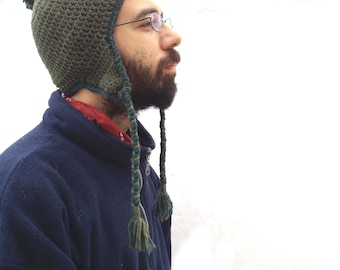 One of a Kind 100% Wool Dark Green Pom Pom Beanie with Ear Flaps and Braids, Peruvian Trapper Warm Crochet Hat, Valentine Gift for Man Woman