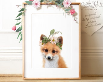 Fox PRINTABLE art, Fox with flowers, The Crown Prints, Flower crown, Woodland animal prints, Baby animals, Download, Nursery wall art, Decor
