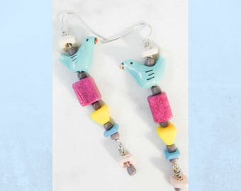 Spring Inspired, Colorful Bird Earrings, Magenta, Yellow, Blue, Pink, Turquoise, Funky Hippie Country Rustic