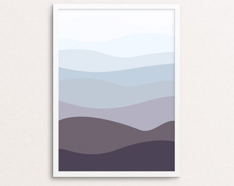 Mountain Print, Ocean Wall Art, Mountain Landscape, Ocean Printable, Mountain Art Print, Abstract Print Art, Minimalist Print, Art Printable
