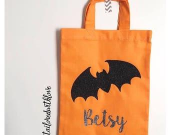 Children's Personalised Bat Trick or Treat Bag for Halloween
