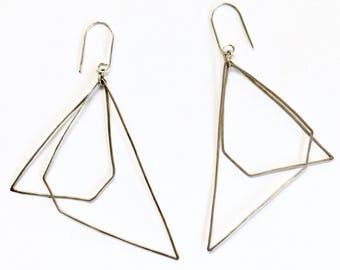 Asymmetrical Geometric Sterling Silver Lightweight Earrings