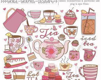 Tea Party Clipart Set, Tea Clipart, Coffee Clipart, Macaron Clipart, Cupcake Clipart, Commercial Use Hand Illustrated Clipart Set, EPS PNG