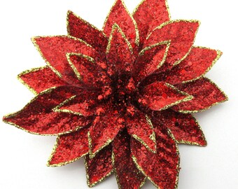 "Large 6"" Red Gold Full Glitter Star Poinsettia Flower Brooch Pin"