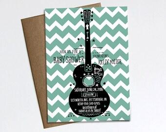Boys Rock! Baby Shower invitation, Rock N Roll, Rock a bye baby