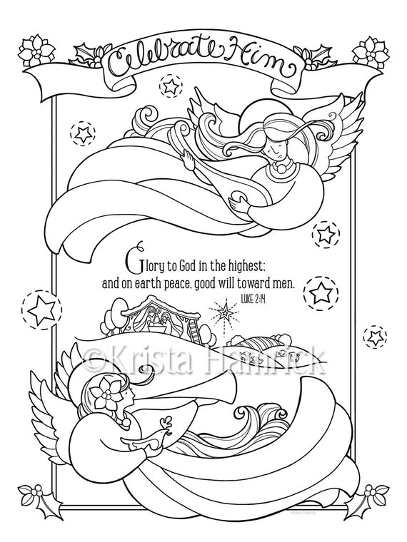 Celebrate Him Coloring Page In Two Sizes 85X11 And Bible