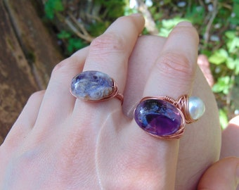 Handmade Unique Copper Wire Wrapped Amethyst Ring