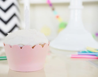 PALE PINK Cupcake Wrappers - Set of 24 - Princess Party Decoration