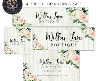 4 Piece Premade Set-Business Card-Facebook Set-Etsy Shop Set-Rustic Branding Package