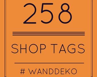 Shop Promotion  - Wanddeko - Etsy SEO - Liste mit 258 Etsy Shop Tags ! - Etsy SEO Hilfe - Deutsche Suchbegriffe - Etsy Shop Tags