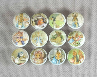 Drawer Knobs Nursery, Beatrix Potter Wooden Knobs, perfect for updating Chest of Drawers or Dressers in Baby Nursery, 3.5cm Dia