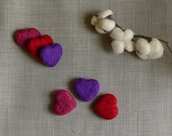 Tiny heart set , 3 felted heart, red/purple/plum