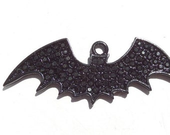 54mm*20mm Black Bat Rhinestone Pendant, P9
