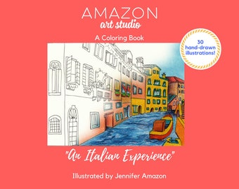 Coloring Book, An Italian Experience. Watercolor and Color Pencil