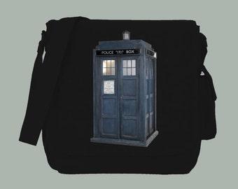 British Blue Police Box Dr. Who Inspired  Messenger Bag, 15x11x4