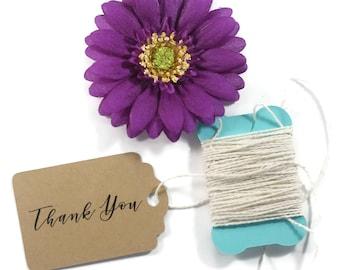 Kraft Thank You Tags 20 pc - Merchandise Tags - Price Tags - Brown Thank You Favors - Cursive Thank You Tags - Wedding Favor Ideas
